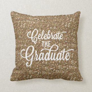 HANDWRITTEN FAUX GOLD GLITTER GRADUATION PILLOW