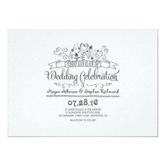 Handwritten flowers modern casual wedding invites