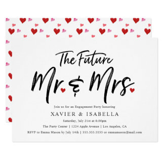 Handwritten Future Mr. & Mrs. Engagement Party Card