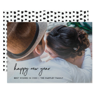 Handwritten Happiness   New Year with Photo Card