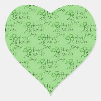 Handwritten Happy St Patrick's Day Shamrock Clover Heart Sticker