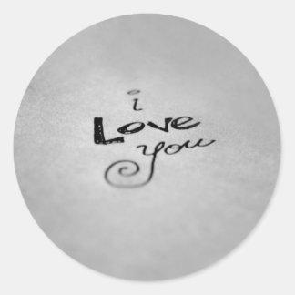 Handwritten I Love You Round Sticker