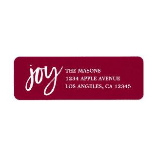 Handwritten Joy Return Address Label