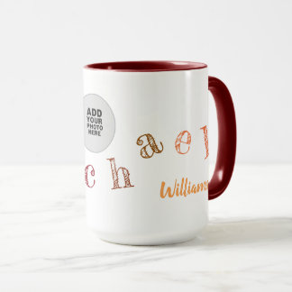 handwritten letters of your name + photo on maroon mug