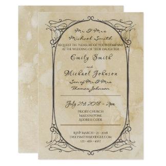 Handwritten Parchment Vintage Wedding Invite Old