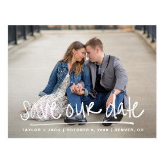 Handwritten Save Our Date Postcard