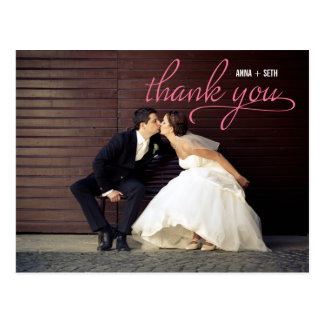 HANDWRITTEN Thank You Postcard - Pink