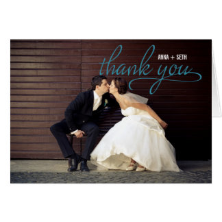 HANDWRITTEN Wedding Thank You Photo Card - Blue