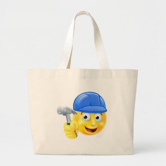 Handy Man Carpenter Builder Emoji Emoticon Large Tote Bag