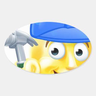 Handy Man Carpenter Builder Emoji Emoticon Oval Sticker