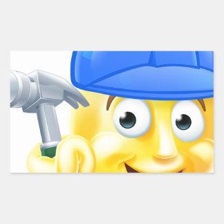 Handy Man Carpenter Builder Emoji Emoticon Rectangular Sticker