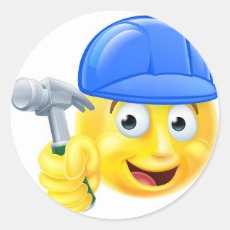 Handy Man Carpenter Builder Emoji Emoticon Round Sticker