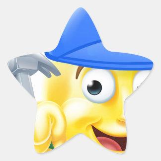 Handy Man Carpenter Builder Emoji Emoticon Star Sticker