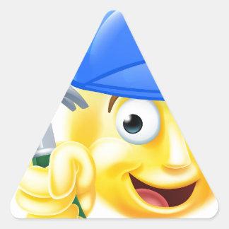 Handy Man Carpenter Builder Emoji Emoticon Triangle Sticker