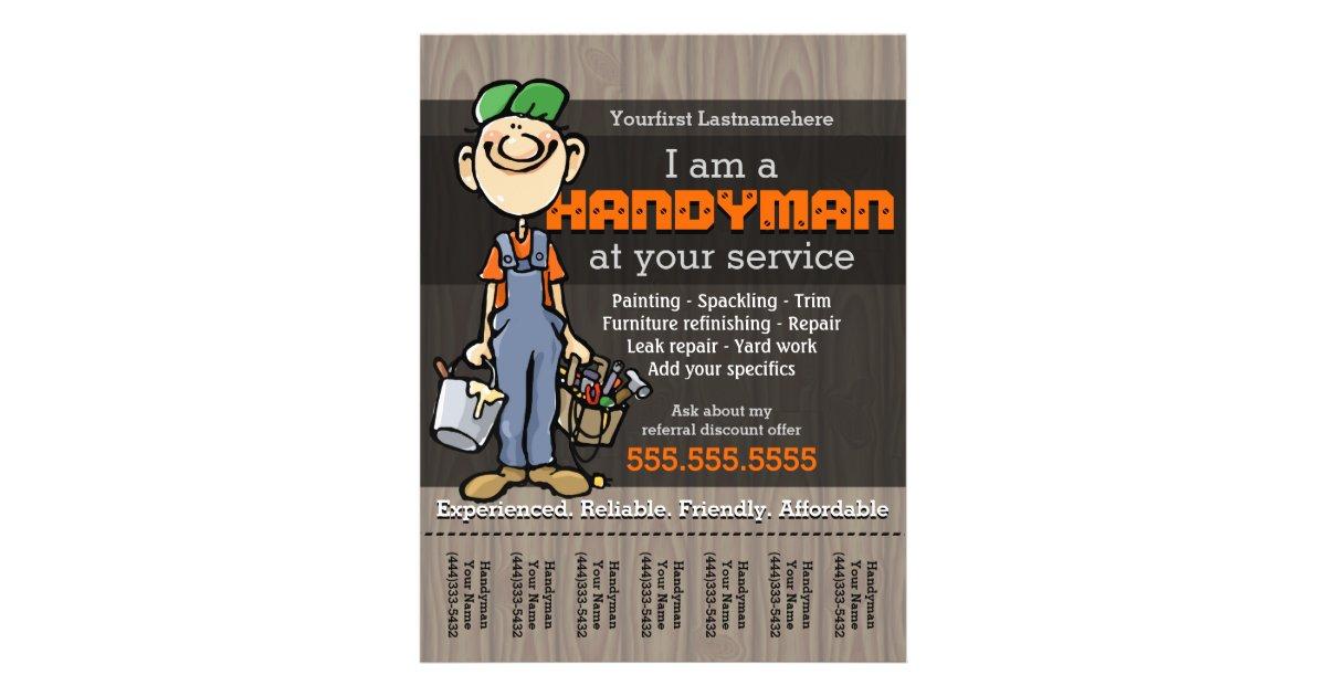 handy man carpenter plumber painter yard work flyer zazzle co uk