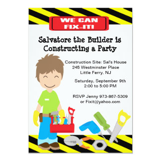 Handy Man Fix It Boys Birthday Invitation