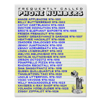 Handy Phone Number List To Display Near Your Phone Poster