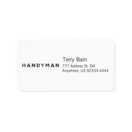Handyman [Black Letterpress Style] Label