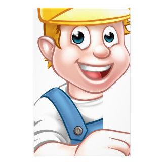 Handyman Builder Worker in Hard Hat Customized Stationery