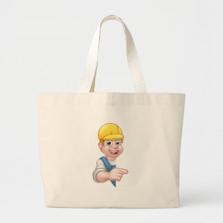 Handyman Builder Worker in Hard Hat Large Tote Bag