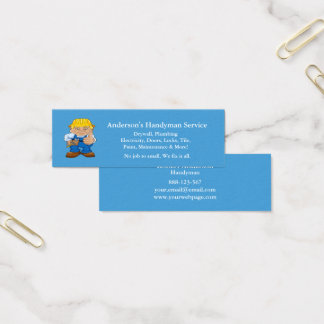 Handyman Caricature Repairman Tools Mini Business Card