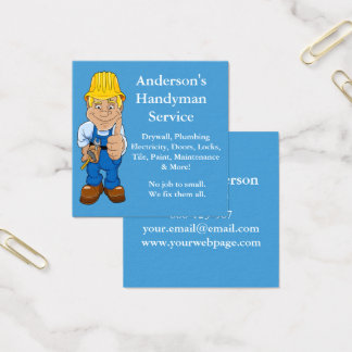 Handyman Caricature Repairman Tools Square Business Card