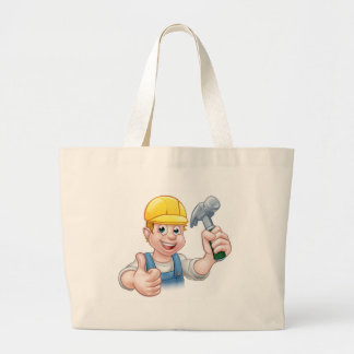 Handyman Carpenter Cartoon Character Holding Hamme Large Tote Bag
