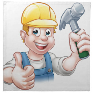 Handyman Carpenter Cartoon Character Holding Hamme Printed Napkins