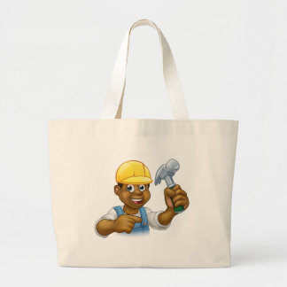 Handyman Carpenter Hammer Man Large Tote Bag