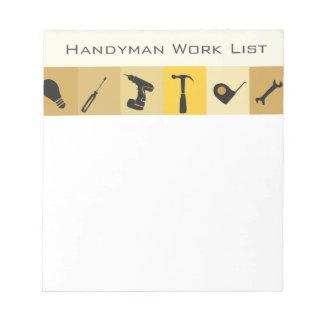 Handyman Construction Buildern Honey Do List Notepad