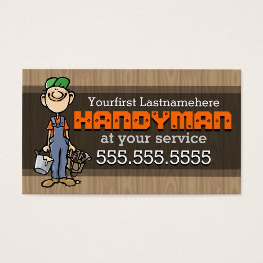 Handyman.Fix-It Man.Home repair.Custom text/colour Business Card