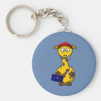 Handyman Giraffe Blue Background Keychains