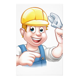 Handyman Mechanic or Plumber with Spanner Stationery Paper