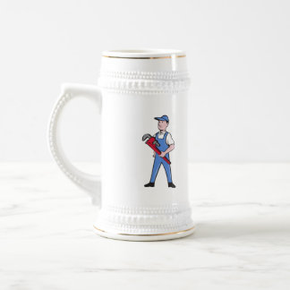 Handyman Pipe Wrench Standing Cartoon Beer Stein