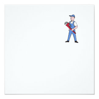 Handyman Pipe Wrench Standing Cartoon Card