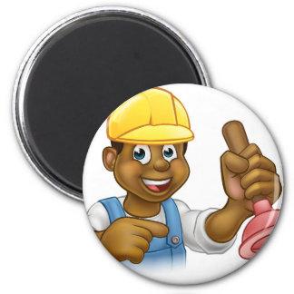 Handyman Plumber Holding Punger Cartoon Character 6 Cm Round Magnet