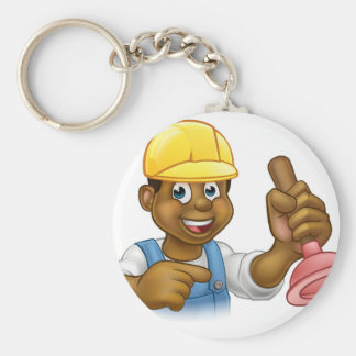 Handyman Plumber Holding Punger Cartoon Character Key Ring