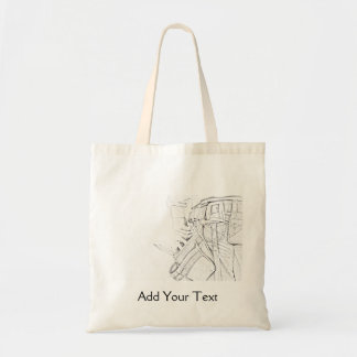 Handyman Sketch in Black and White Business Bags