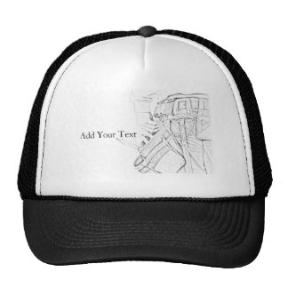 Handyman Sketch in Black and White Business Cap