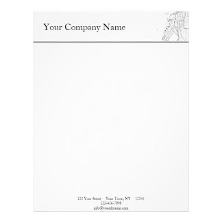Handyman Sketch in Black and White Business Customised Letterhead