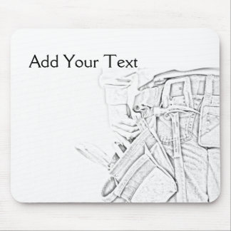 Handyman Sketch in Black and White Business Mouse Pad