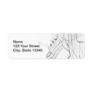 Handyman Sketch in Black and White Business Return Address Label