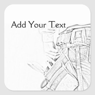 Handyman Sketch in Black and White Business Square Sticker
