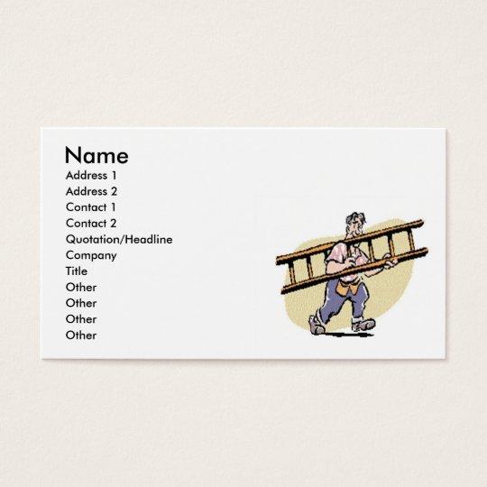 Handyman With Ladder Business Card