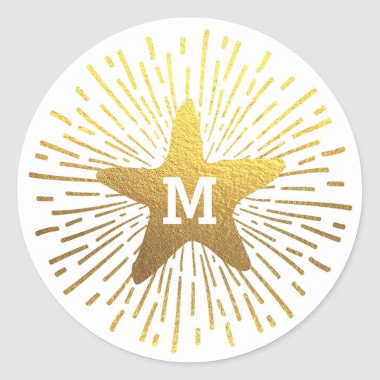 Hang a Shining Star Christmas Monogram Classic Round