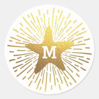 Hang a Shining Star Christmas Monogram Round Sticker