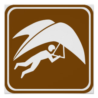 Hang Gliding Highway Sign Poster