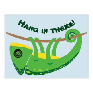 Hang in there chameleon postcard