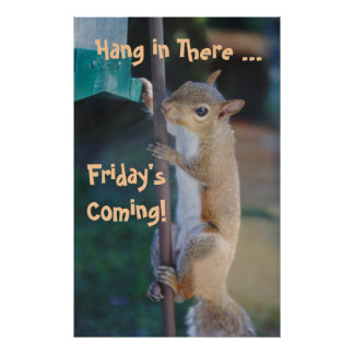Hang in There, Friday'sComing! Squirrel Poster