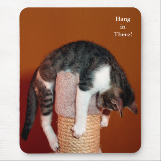 Hang in There Humorous Tabby Cat Mousepad